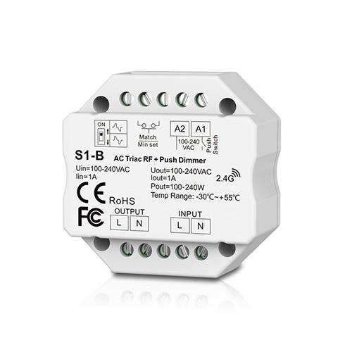 LED SkyDance S1-B Triac dimmer fényerőszabályzó vezérlő, 100-240V, 1 csat., 1A/cs. (22909)