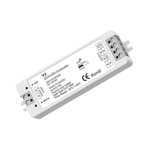 LED SkyDance V2 Színhőmérséklet vezérlő két színű LED szalaghoz, 12-24V, 2 csat., 5A/cs. (22879)