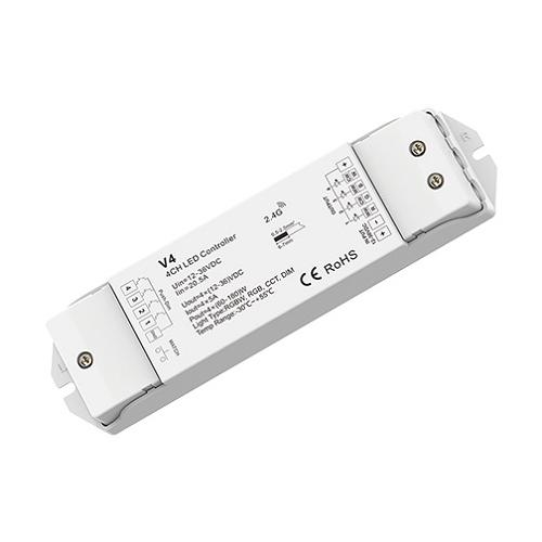 LED SkyDance V4 RGBW vezérlő RGB+fehér LED szalaghoz, 12-36V, 4 csatorna, 5A/cs. (22881)