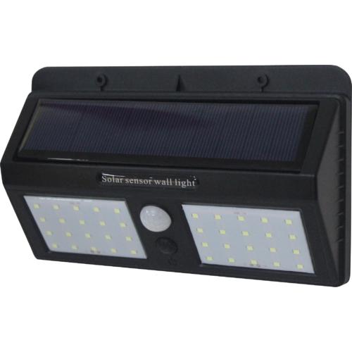 LED napelemes fali lámpa, fekete ház, 1,5W, 6000K, IP54 (WL7406)