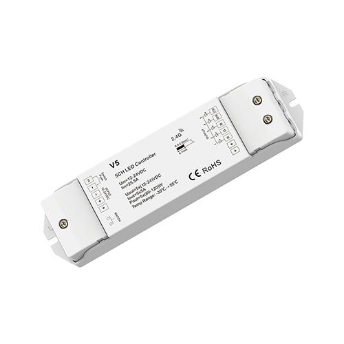 LED SkyDance V5 RGB+CCT vezérlő FullColor LED szalaghoz, 12-24V, 5 csatorna, 5A/cs. (22882)