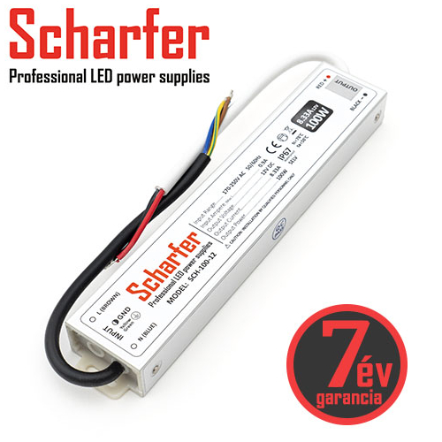 Scharfer Vízálló LED tápegység 12 Volt (100W/8.33A) IP67