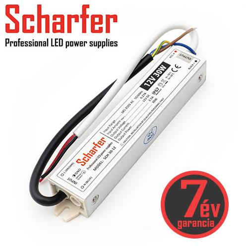Scharfer Vízálló LED tápegység 12 Volt (30W/2.5A) IP67