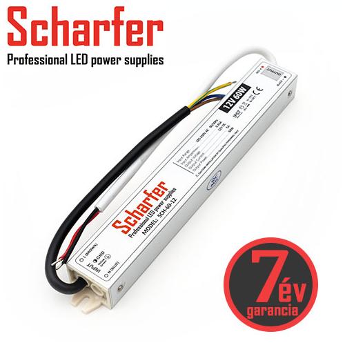 Scharfer Vízálló LED tápegység 12 Volt (60W/5A) IP67