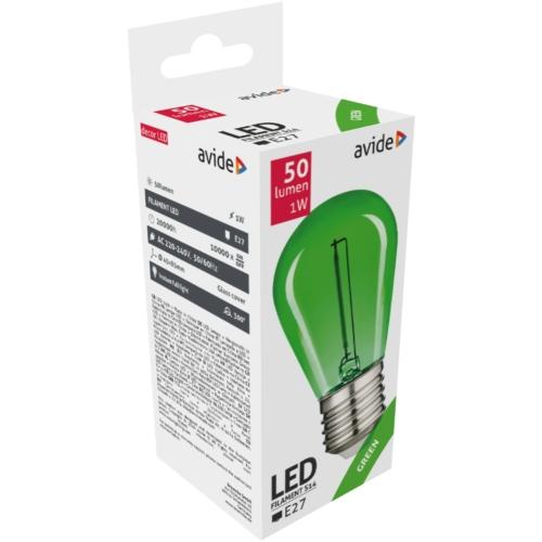 Avide Dekor LED Filament fényforrás 0.6W E27 Zöld