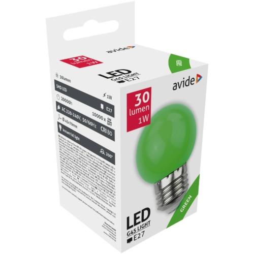 Avide Dekor LED fényforrás G45 1W E27 Zöld