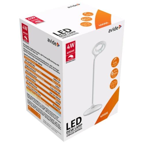 Avide LED Asztali Lámpa Minimal Fehér 4W