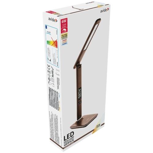 Avide LED Asztali Lámpa Irodai Bőrhatású Naptár Barna 6W