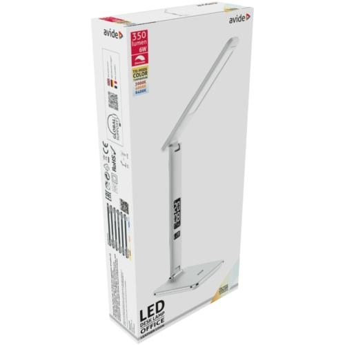 Avide LED Asztali Lámpa Irodai Bőrhatású Naptár Fehér 6W