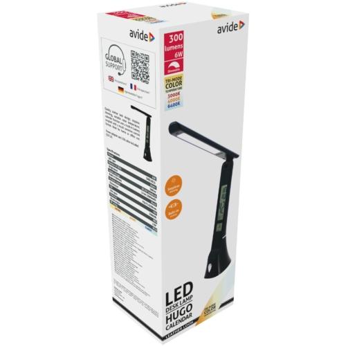 Avide LED Asztali Lámpa Bőrhatású Hugo Fekete 5W Naptár