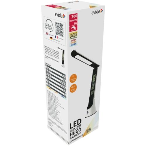 Avide LED Asztali Lámpa Bőrhatású Hugo Fehér-Fekete 5W Naptár