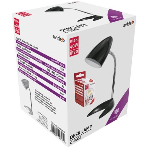 Avide Basic E27 Asztali Lámpa C Talpú Fekete + 4W LED izzó