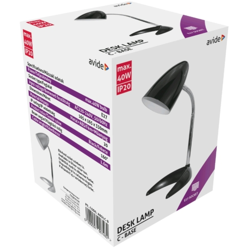 Avide Basic E27 Asztali Lámpa C Talpú Fekete