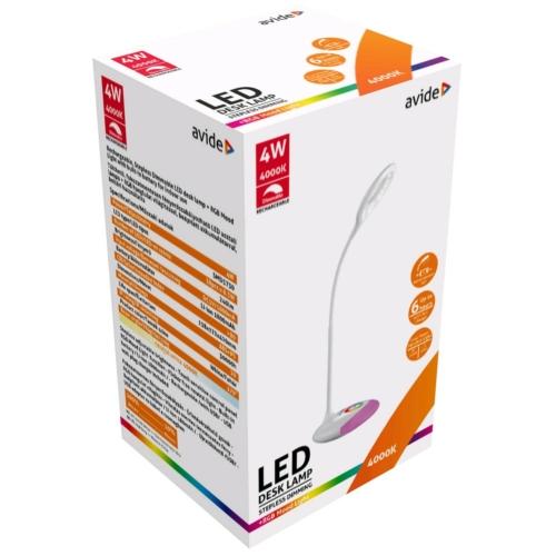 Avide LED Asztali Lámpa RGB Fehér 4W