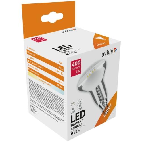 Avide LED filament izzó R50 4W E14 NW 4000K