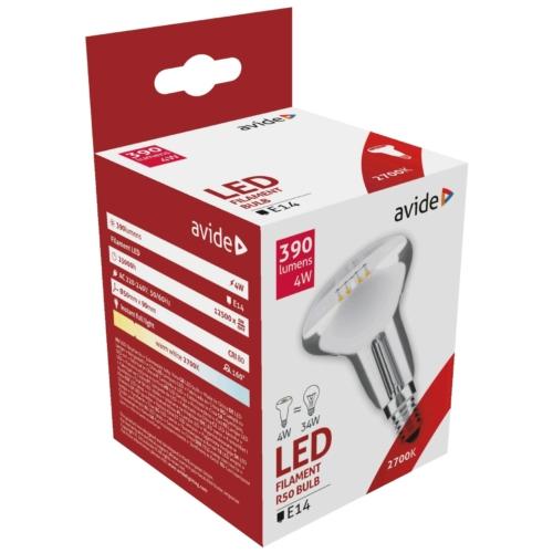 Avide LED filament izzó R50 4W E14 WW 2700K