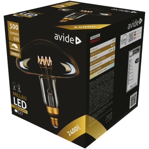 Avide LED Jumbo Filament Millau Amber 6W E27 2400K dimmelhető