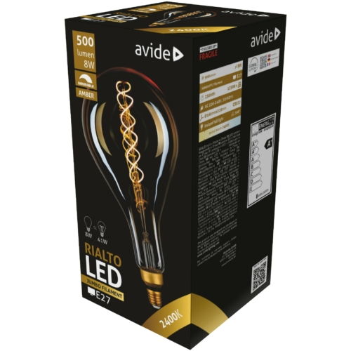Avide LED Jumbo Filament Rialto Amber 8W E27 2400K dimmelhető
