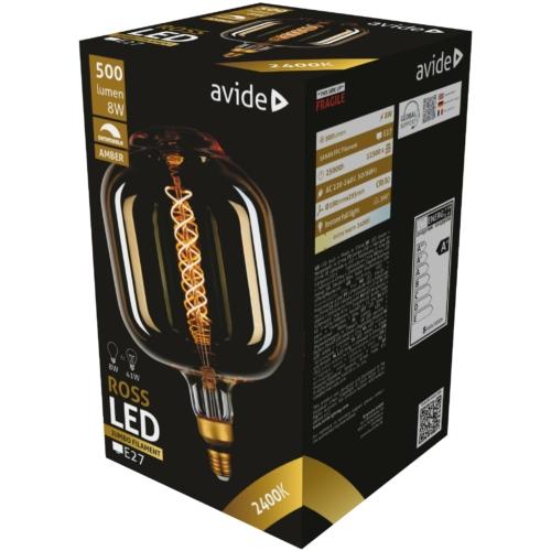 Avide LED Jumbo Filament Ross Amber 8W E27 2400K dimmelhető