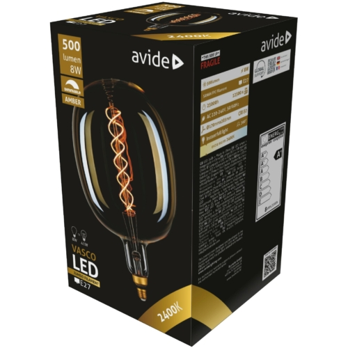 Avide LED Jumbo Filament Vasco Amber 8W E27 2400K dimmelhető