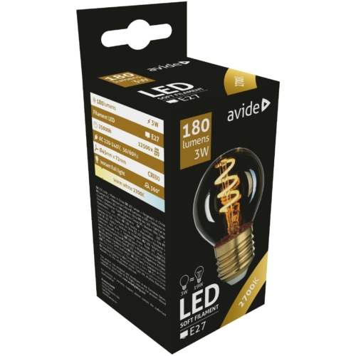 Avide LED Soft Filament izzó Mini Globe 3W E27 360° EW 2700K