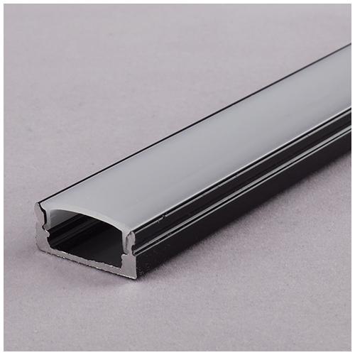 ALP-002 - Aluminium U profil fekete, LED szalaghoz, opál burával