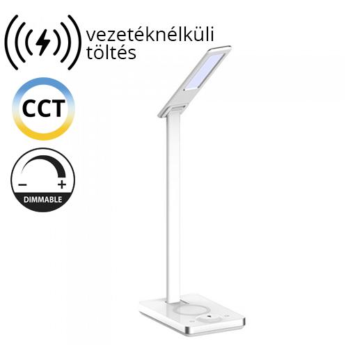V-TAC Asztali LED lámpa (5W) változtatható színhőmérséklet, fényerőszabályozás, vezeték nélküli töltés funkció, fehér-ezüst