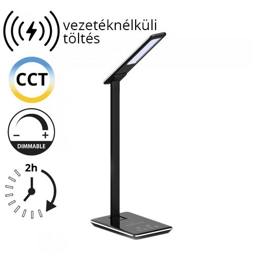 V-TAC Asztali LED lámpa (5W) változtatható színhőm. + fényerőszabályozás, időzített kikapcs., vezeték nélküli töltés, fekete-ezüst