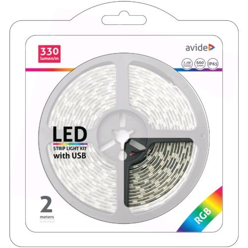 Avide 5V-os USB csatlakozós színváltós RGB LED szalag szett (2m) vezérlővel
