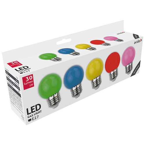 Avide Színes LED lámpa szett E27 (1W/200°) Kisgömb - zöld, kék, sárga, piros, rózsaszín