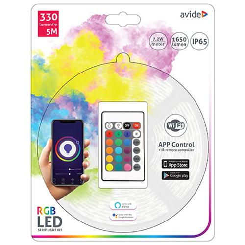Avide Smart LED szett beltéri: 5 méter RGB szalag 5050-30 - Smart Wi-Fi és távirányítós vezérelés + tápegység