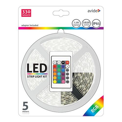 Avide LED szalag szett beltéri: 5 méter RGB 5050-30 szalag - távirányítóval, vezérelhető + tápegység