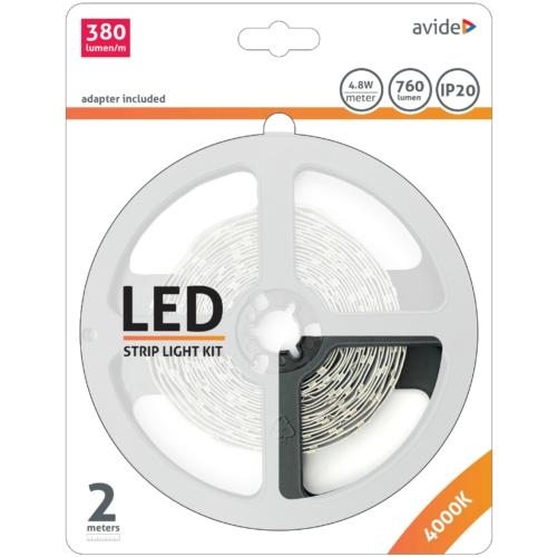 Avide Fehér fényű LED szalag szett (2 méter LED szalag + tápegység)