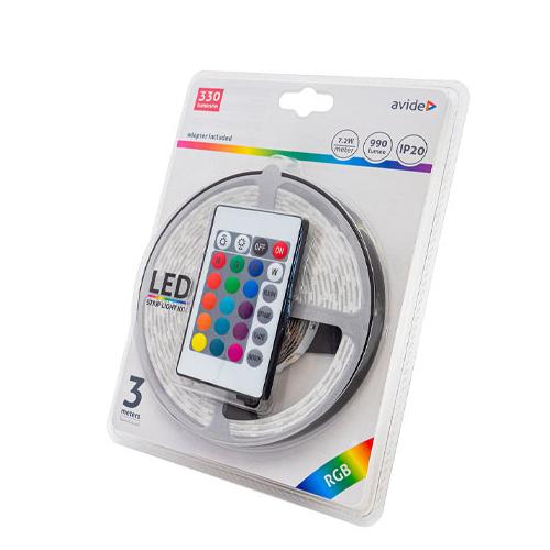 Avide LED szalag szett beltéri: 3 méter RGB 5050-30 szalag - távirányítóval, vezérelhető + tápegység