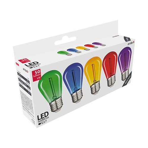 Avide Színes filament LED lámpa szett E27 (1W/300°) Körte - zöld, kék, sárga, piros, lila