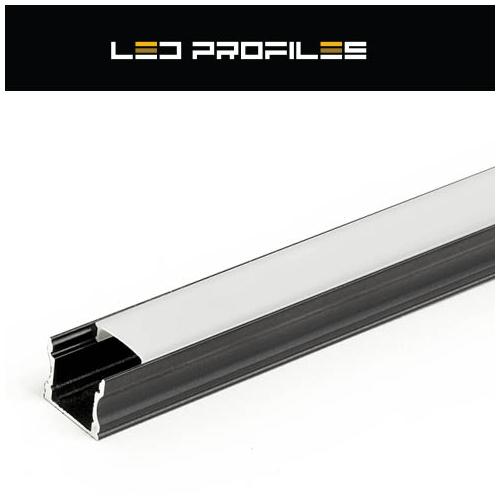 Surface-2 Alumínium U profil fekete, LED szalaghoz, opál burával