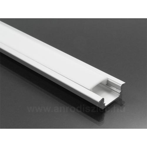 LED Profiles ALP-001 - Aluminium U profil ezüst, LED szalaghoz, opál burával