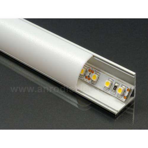 LED Profiles ALP-006 Aluminium sarok profil ezüst, LED szalaghoz, opál burával