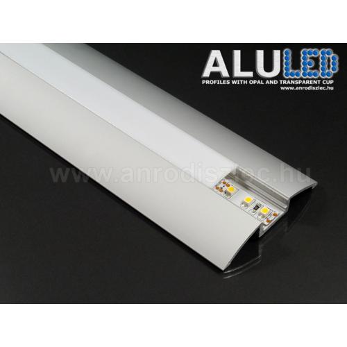 ALP-021 Aluminium íves profil ezüst, LED szalaghoz, opál burával
