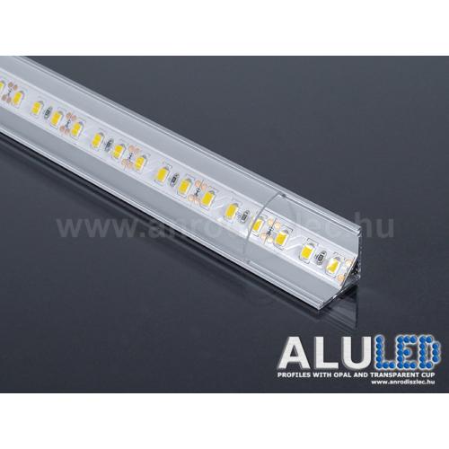LED Profiles ALP-006 Aluminium sarok profil ezüst, LED szalaghoz, átlátszó burával