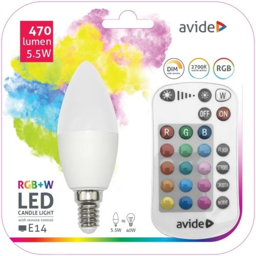 Avide Smart LED E14 Candle izzó 5.5W RGB+W 2700K IR Távirányítóval