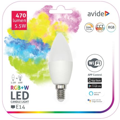 Avide Smart LED E14 Candle izzó 5.5W RGB+W WIFI APP Control