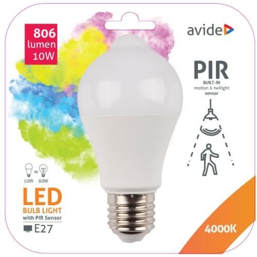Avide Smart LED E27 Globe izzó A60 10W NW 4000K PIR mozgásérzékelővel