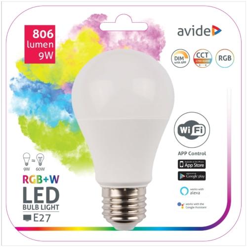 Avide Smart LED E27 Globe izzó A60 9W RGB+W WIFI APP Control