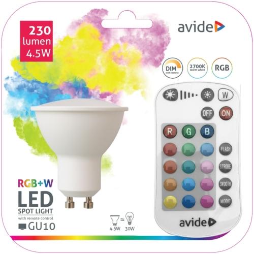 Avide Smart LED GU10 izzó 4.5W RGB+W 2700K IR Távirányítóval