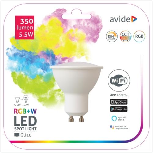 Avide Smart LED GU10 izzó 5.5W RGB+W WIFI APP Control