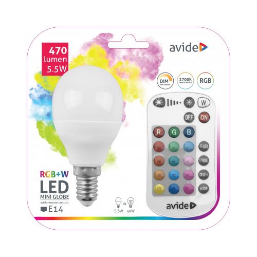 Avide Smart LED E14 Mini Globe izzó 5.5W RGB+W 2700K IR Távirányítóval