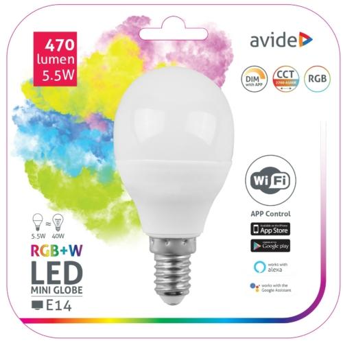 Avide Smart LED E14 Mini Globe izzó 5.5W RGB+W WIFI APP Control