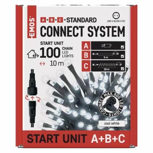 EMOS Alapkészlet Standard, sorolható, 10 m, hideg fehér, időzítő, IP44