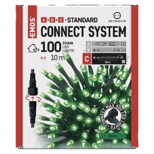 EMOS Standard LED sorolható karácsonyi füzér, 10 m, zöld, időzítő, IP44